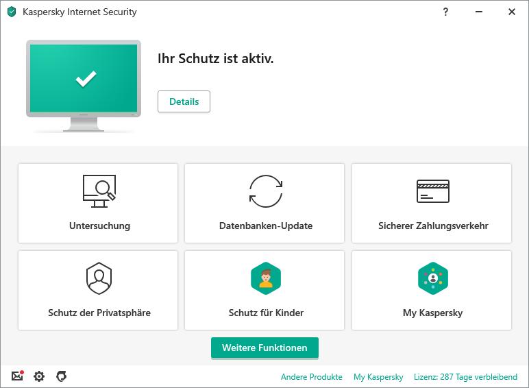 Benutzeroberfäche von Kaspersky Internet Security mit verschiedenen Schaltflächen