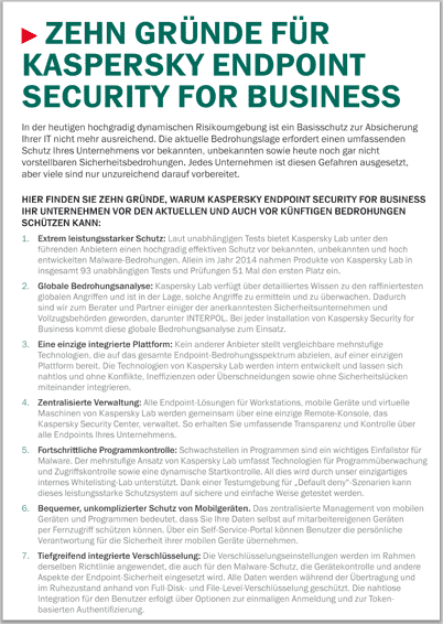 Zehn Gründe für Kaspersky Endpoint Security for Business