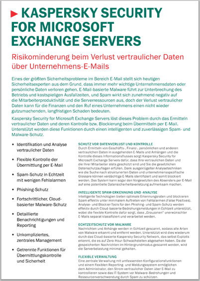 Kaspersky Security for Microsoft Exchange Servers - Datenblatt